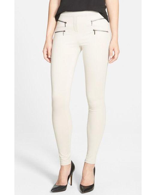 NIC+ZOE | Metallic Zip Detail Skinny Ponte Pants | Lyst