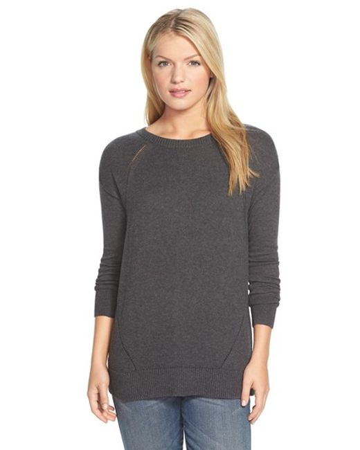 Caslon | Gray Caslon Button Back Tunic Sweater | Lyst