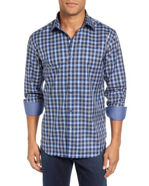 Bugatchi | Blue Trim Fit Ombre Plaid Sport Shirt for Men | Lyst