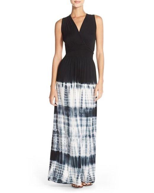 Fraiche By J | Black Tie Dye Ombre Jersey Maxi Dress | Lyst