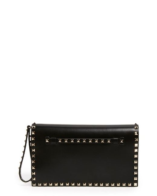 Valentino | Red 'rockstud' Leather Flap Clutch | Lyst