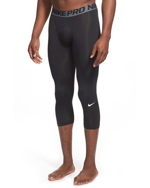 Nike | Black 'pro Cool Compression' Four-way Stretch Dri-fit Three-quarter Tights for Men | Lyst