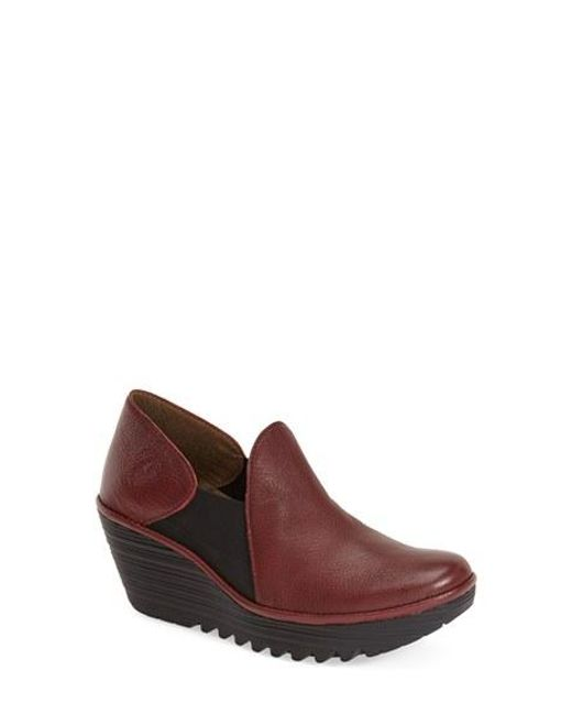 Fly London | Red 'yua' Platform Wedge Pump | Lyst