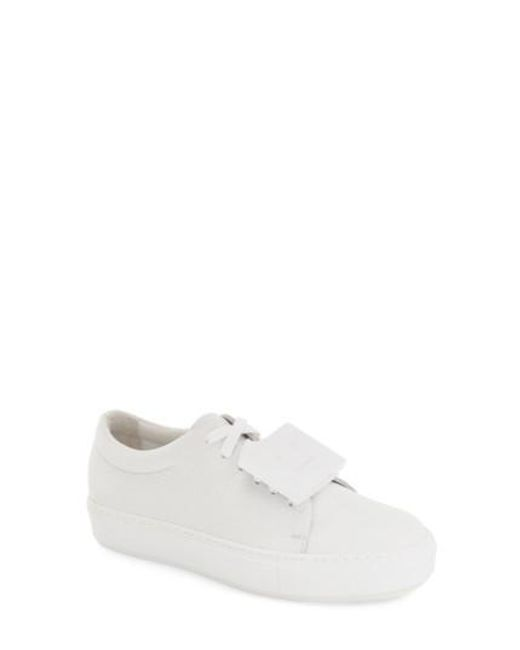 Acne   White 'adriana - Grain' Leather Sneaker   Lyst