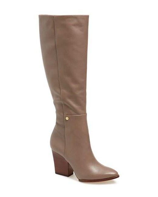 Calvin Klein | Brown 'zurie' Knee High Pointy Toe Boot | Lyst