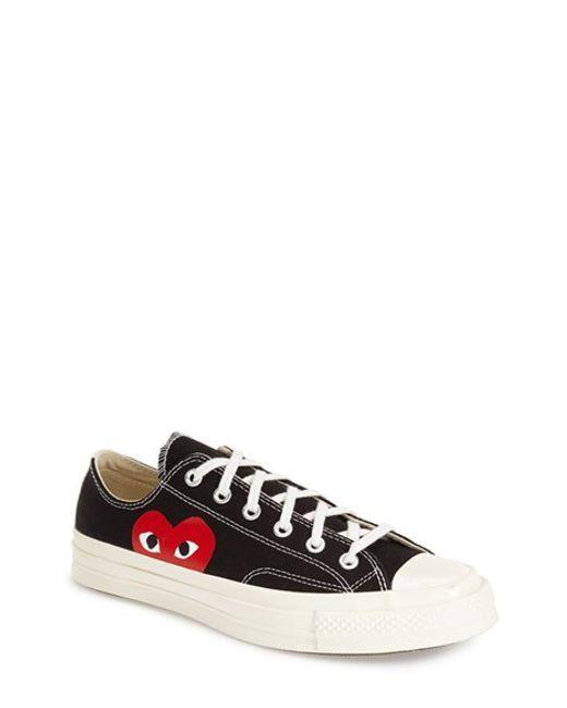 Comme des Garçons   Black Large Emblem Low Top Canvas Sneakers   Lyst