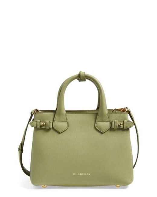 Burberry | Green 'small Banner' Leather Tote | Lyst