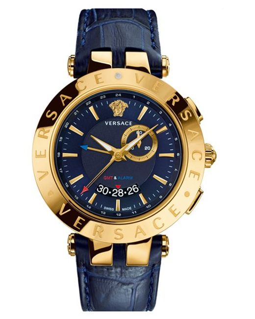 Versace | Blue 'v-race Gmt' Round Leather Strap Watch for Men | Lyst