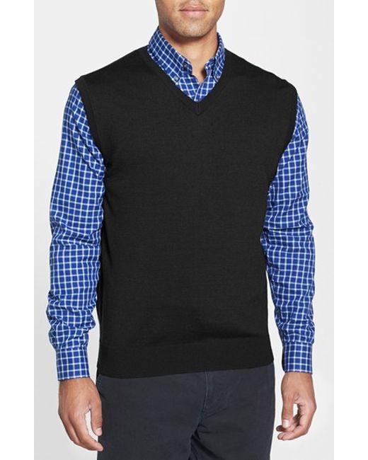 Cutter & Buck | Black 'douglas' Merino Wool Blend V-neck Vest for Men | Lyst