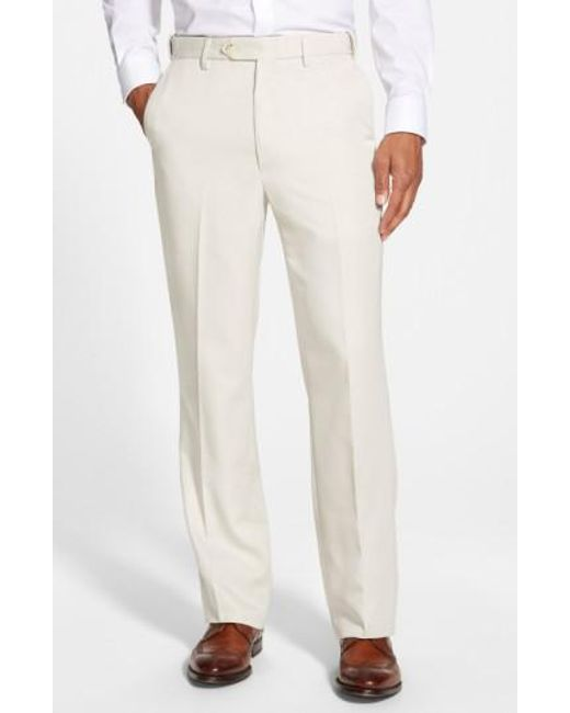 Berle | White Self Sizer Waist Flat Front Trousers for Men | Lyst