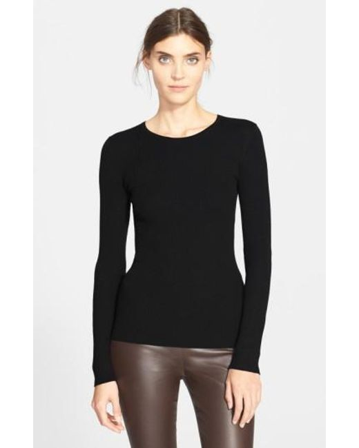 Theory | Black 'mirzi' Rib Knit Merino Wool Sweater | Lyst