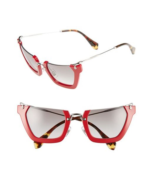 Miu Miu   Red Noir 50mm Semi Rimless Sunglasses   Lyst