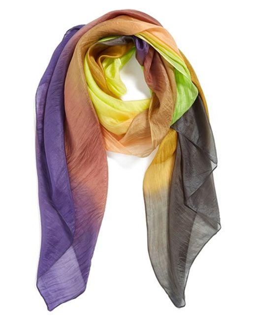 La Fiorentina | Multicolor Ombre Silk Scarf | Lyst