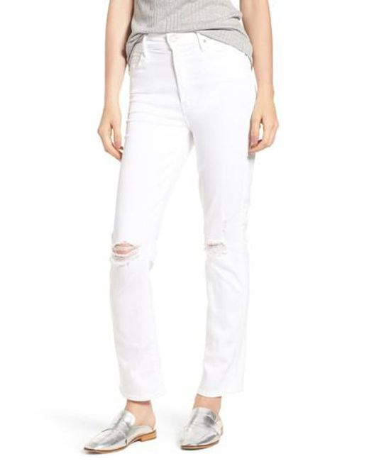 Mother - White The Rascal High Waist Ankle Straight Leg Jeans - Lyst