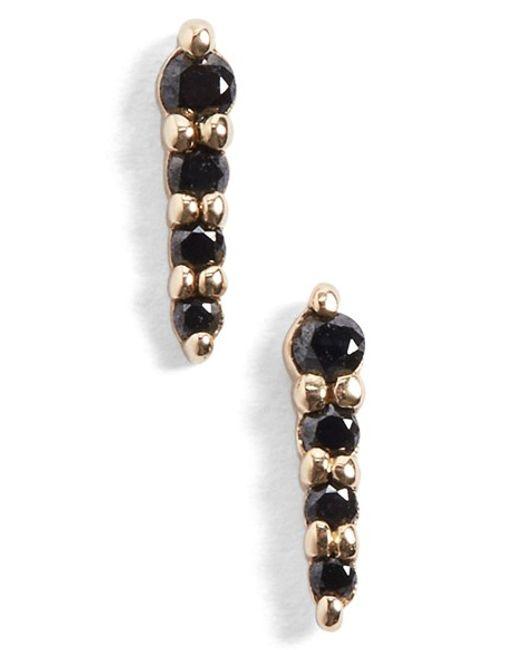Anna Sheffield | Pink Pave Pointe Black Diamond Stud Earrings | Lyst