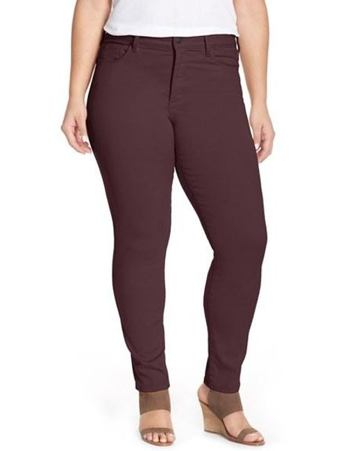 NYDJ | Black 'alina' Colored Stretch Skinny Jeans | Lyst