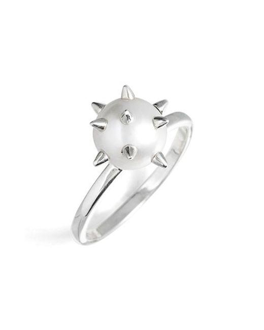 Nektar De Stagni | Metallic 'new Classics' Spike Cultured Pearl Ring | Lyst
