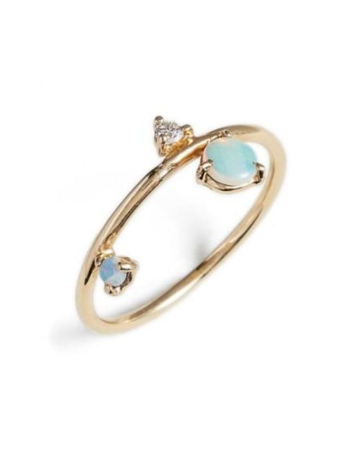 Wwake   Blue Counting Collection - Three-step Balloon Opal & Diamond Ring   Lyst