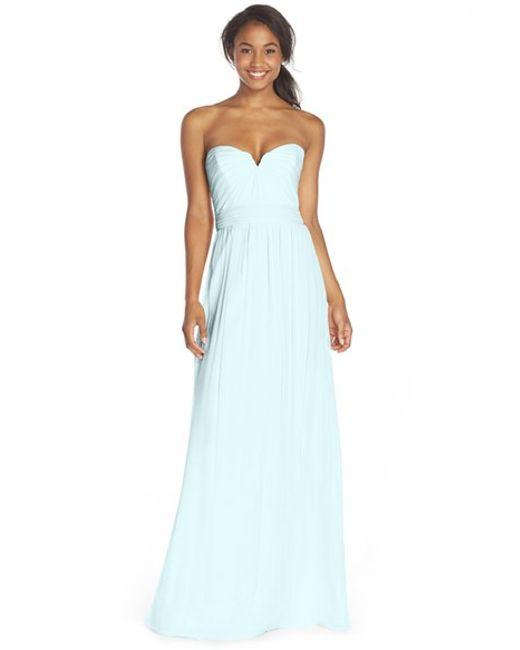 Amsale | Blue Strapless Silk Chiffon Gown | Lyst