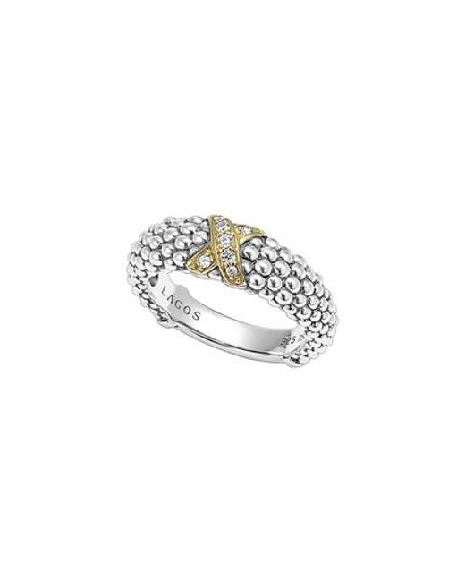 Lagos | Metallic 'x' Diamond & Caviar-(tm)' Two Tone Ring | Lyst