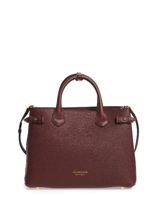 Burberry | Black Medium Banner House Check Leather Tote | Lyst