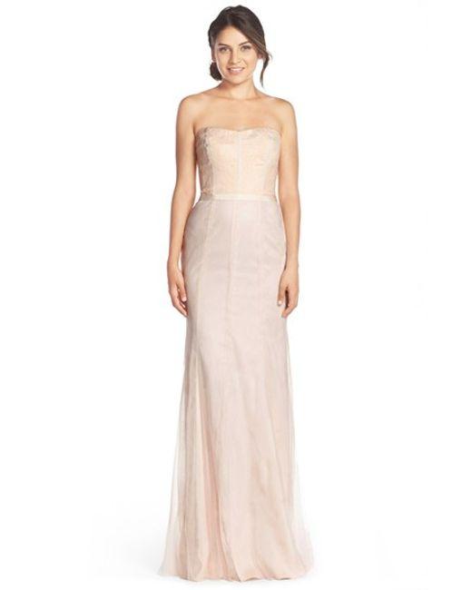 Monique Lhuillier Bridesmaids | Pink Strapless Lace & Tulle Gown | Lyst