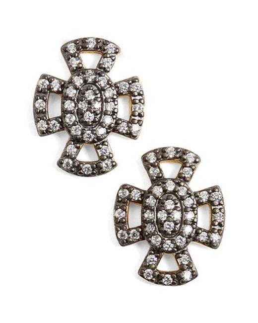 Freida Rothman | Metallic 'metropolitan' Maltese Cross Stud Earrings | Lyst