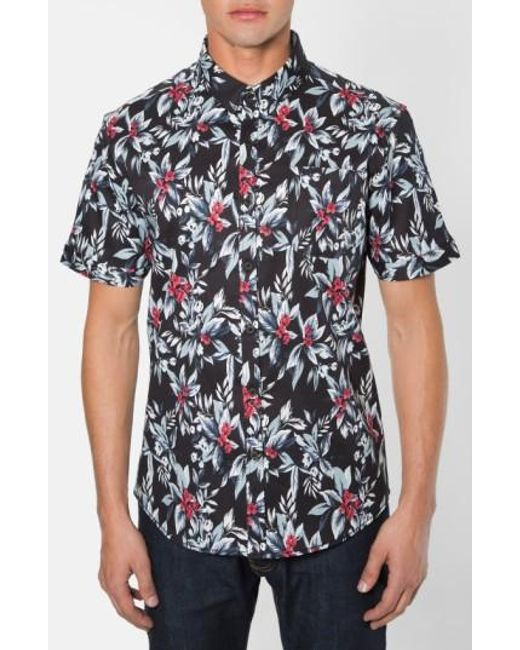 7 Diamonds | Black 'ignition' Trim Fit Short Sleeve Print Woven Shirt for Men | Lyst