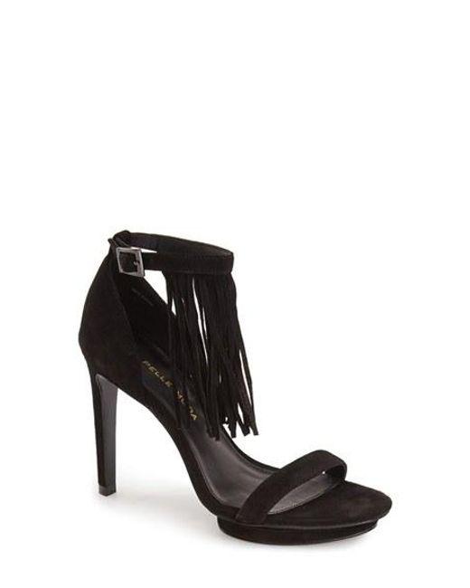 Pelle Moda | Black 'Taft' Fringe Ankle Strap Platform Sandal | Lyst