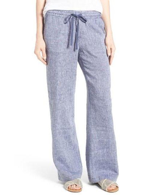 Caslon Caslon Drawstring Linen Pants In Blue Lyst