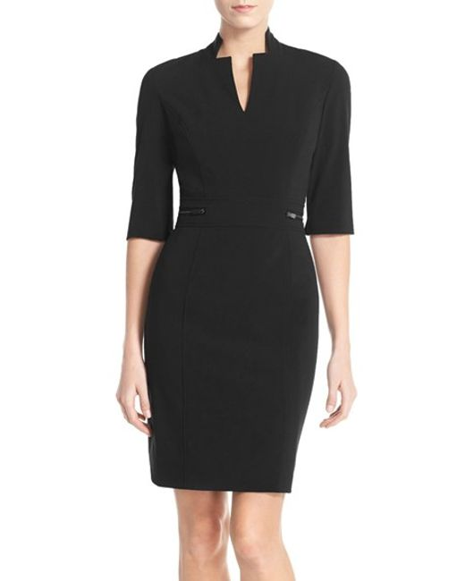 Tahari | Black Bi-stretch Sheath Dress | Lyst