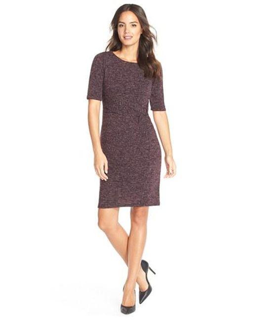 Ellen Tracy | Purple Heathered Knit Sheath Dress | Lyst