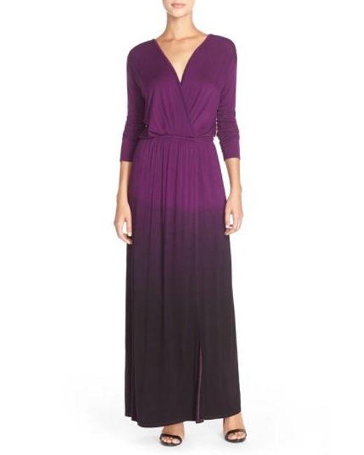 Fraiche By J | Purple Tie-Dye Faux-Wrap Maxi Dress | Lyst