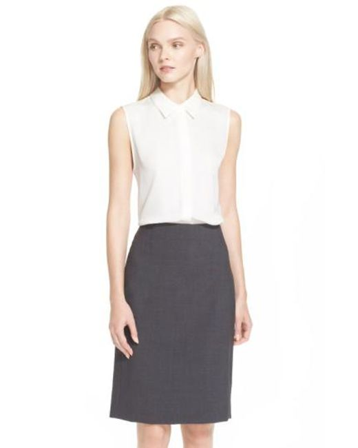 Theory | White 'tanelis' Georgette Top | Lyst