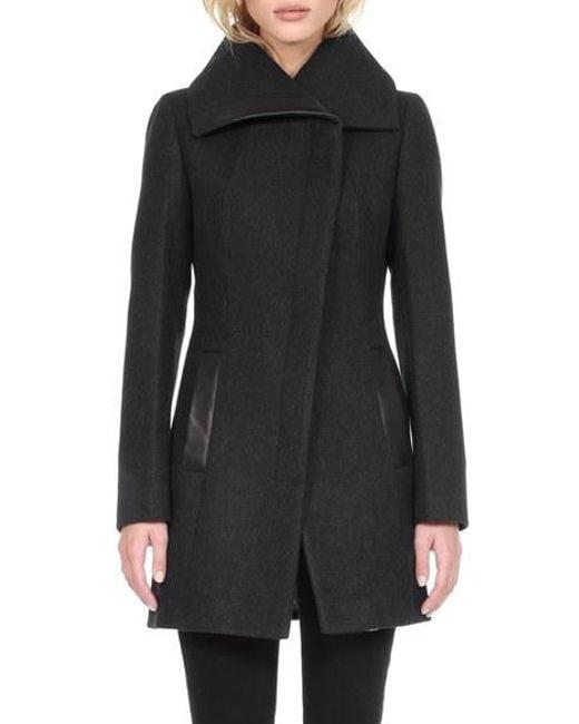 SOIA & KYO | Black 'jana' Asymmetrical Wool Blend Coat | Lyst