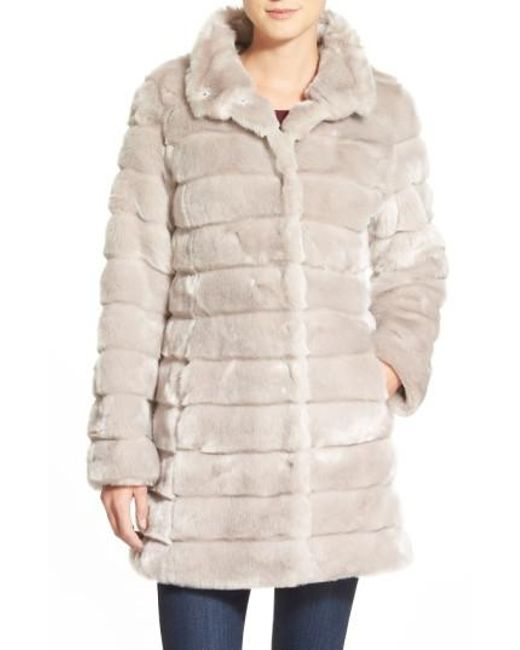 Eliza J | Metallic Faux-Fur Coat | Lyst