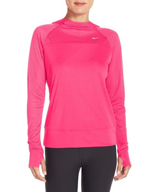 nike 39 run fast 39 hooded dri fit pullover in pink hyper pink reflective silver lyst. Black Bedroom Furniture Sets. Home Design Ideas