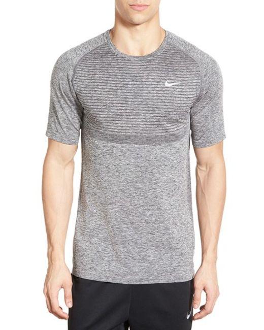 nike slim fit knit trim dri fit running t shirt in gray
