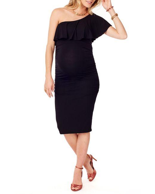 Ingrid & Isabel - Black Ruffled One - Shoulder Maternity Dress - Lyst
