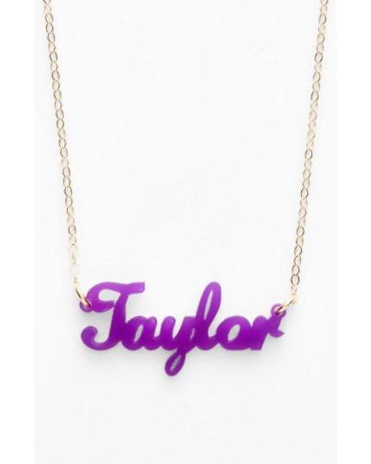Moon & Lola | Purple 'script Font' Personalized Nameplate Pendant Necklace | Lyst