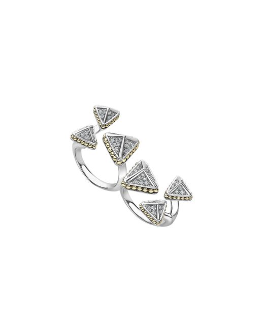Lagos - Metallic Ksl Lux Diamond Two-finger Ring - Lyst