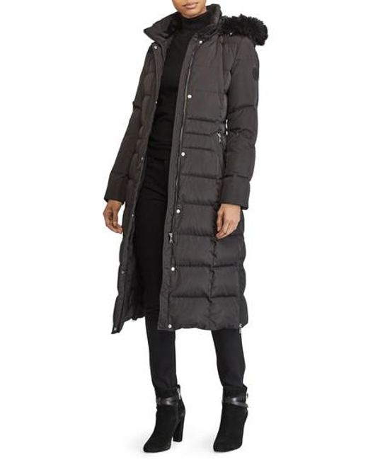 Lauren by Ralph Lauren | Black Faux Fur Trim Down & Feather Fill Maxi Coat | Lyst
