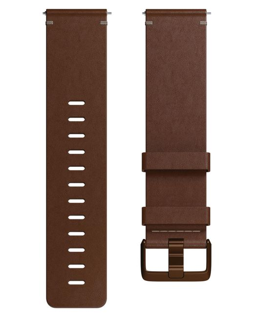 Fitbit - Brown Versa Leather Strap Watch Band for Men - Lyst