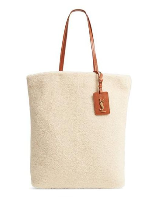 Saint Laurent - Multicolor Genuine Shearling Shopping Tote - - Lyst