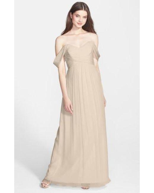 Amsale - Metallic Convertible Crinkled Silk Chiffon Gown - Lyst