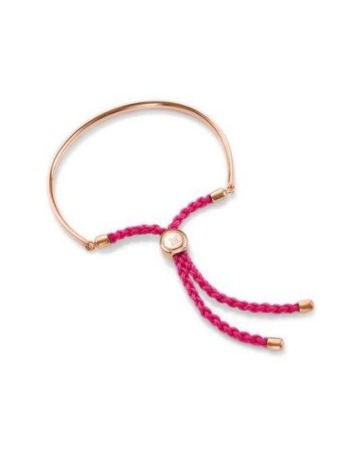Monica Vinader - Pink Fiji 18ct Rose Gold-plated Friendship Bracelet - Lyst