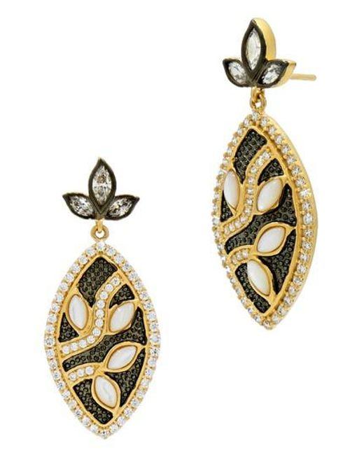 Freida Rothman | Metallic Fleur Bloom Leaflet Petal Drop Earrings | Lyst