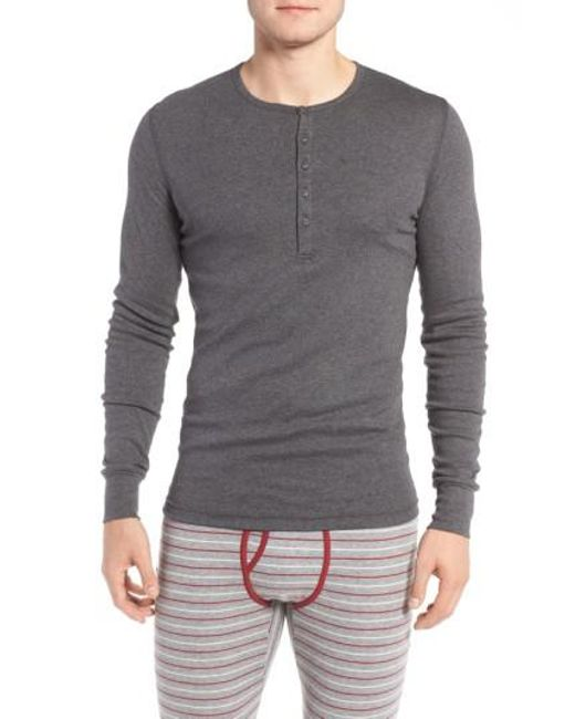 2xist - Gray Cotton Henley for Men - Lyst
