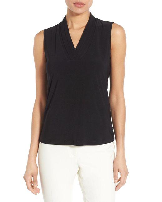 Anne Klein - Black Triple Pleat V-neck Jersey Top - Lyst