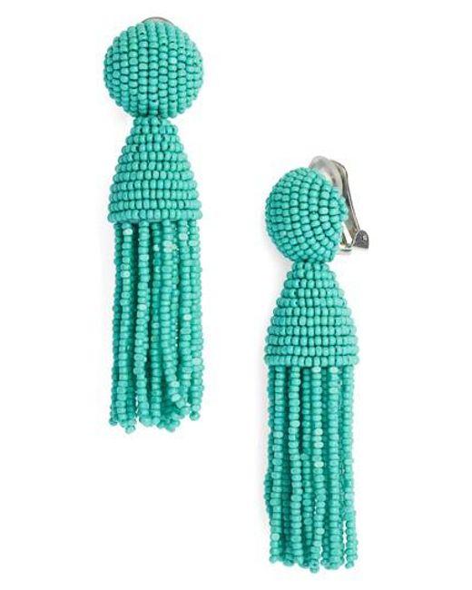 Oscar de la Renta | Green 'classic Short' Tassel Drop Earrings | Lyst